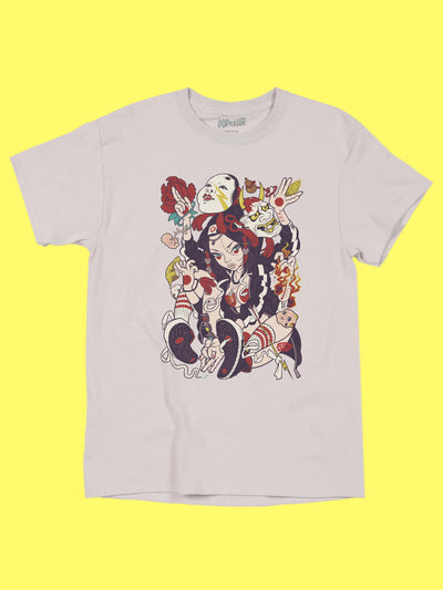 Streetwear anime girl graphic tee by Japanese artist Grape Brain.