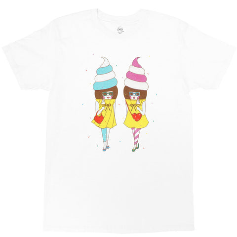 White graphic tee with kawaii pastel ice cream by Los Angeles artist Naoshi.