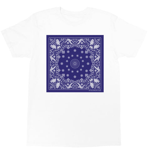 White Japanese paisley pattern graphic tee by Los Angeles brand Popkiller.