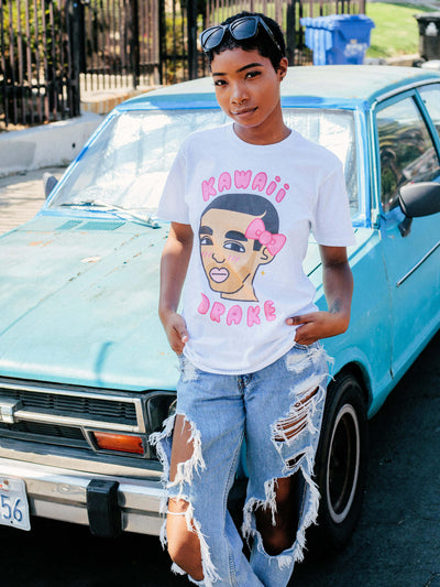 White graphic tee with kawaii rapper Drake by Los Angeles artist Sparklebombb.