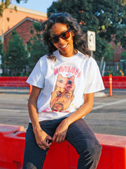 White graphic tee with kawaii rapper Kanye by Los Angeles artist Sparklebombb.