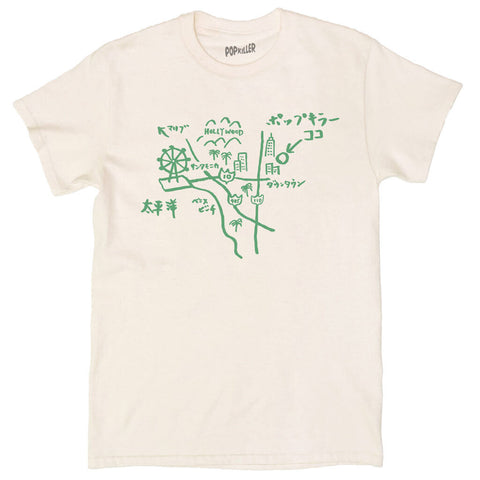 Unisex Japanese doodle map graphic t-shirt by LA brand Popkiller.