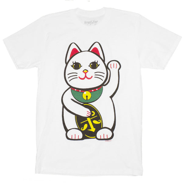 POPKILLER - Japanese Lucky Cat Men's T-shirt - White - 1