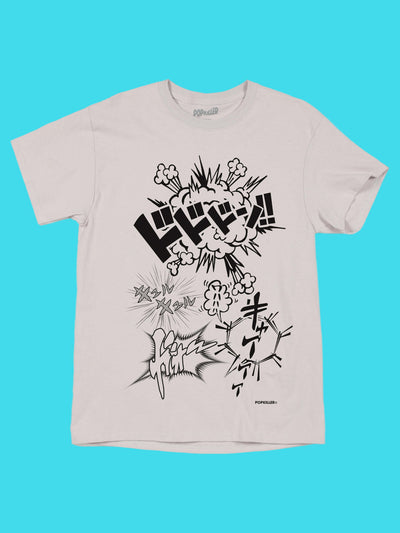 Grey manga onomatopoeia graphic tee by Los Angeles brand Popkiller.