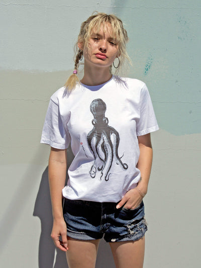White octopus graphic tee by Los Angeles brand Popkiller.