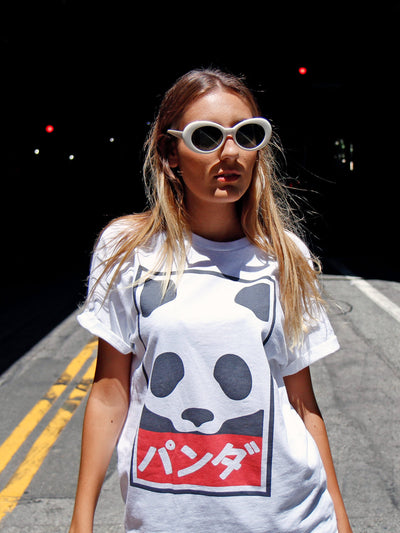 White anime panda graphic tee by Los Angeles brand Popkiller.