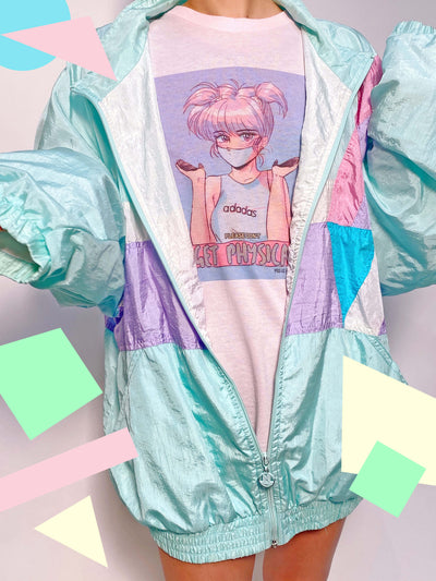 Pink graphic tee with masked anime girl by vaporwave artist Mizucat.