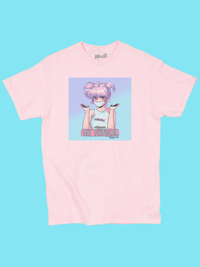 Pink graphic t-shirt with retro anime girl wearing a mask by aesthetic artist Mizucat.