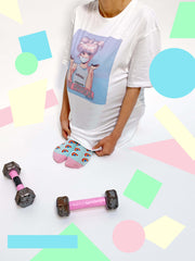 White graphic tee with retro anime girl by vaporwave artist Mizucat.