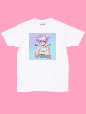 White graphic tee with 80s anime girl by aesthetic artist Mizucat.