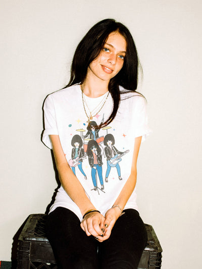 White graphic tee with kawaii Ramones by Los Angeles artist Naoshi.