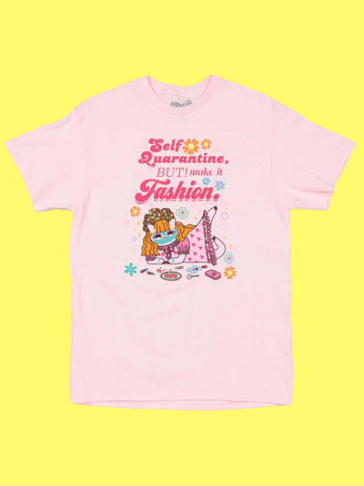 Pink graphic tee with kawaii quarantine kitty by Los Angeles artist Sparklebombb.