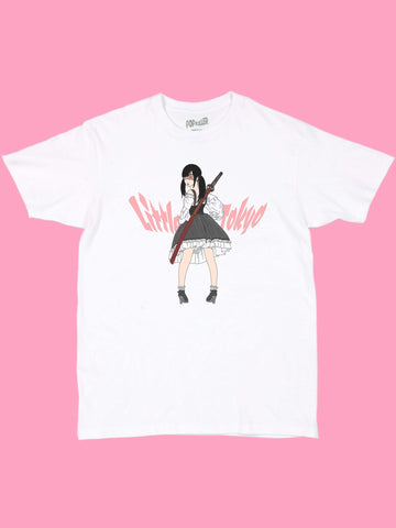 White graphic t-shirt with a kawaii lolita by anime artist Sagaken.