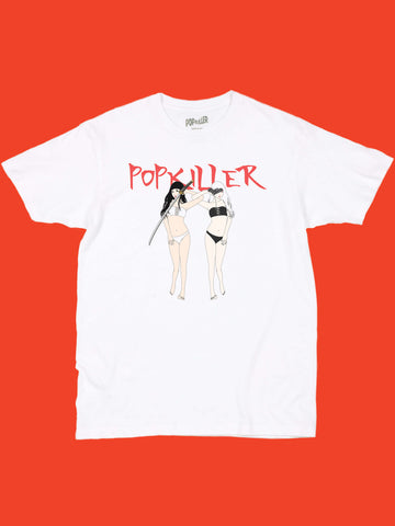 White graphic t-shirt with kill bill anime babes by Japanese artist Sagaken.