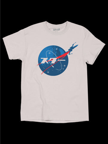 Vaporwave Japanese Nasa logo graphic t-shirt by LA brand Popkiller.