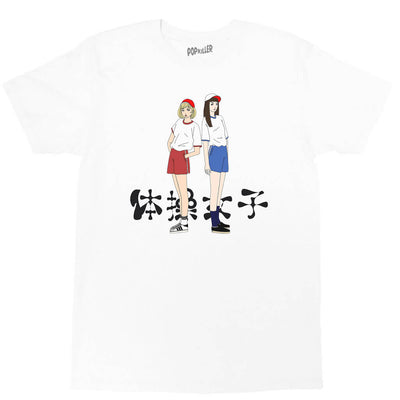 White graphic tee with anime schoolgirls by Japanese artist Sagaken.