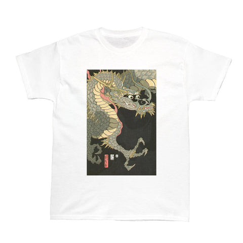 White Japanese Ukiyoe Sadashige Dragon Women's T-shirt