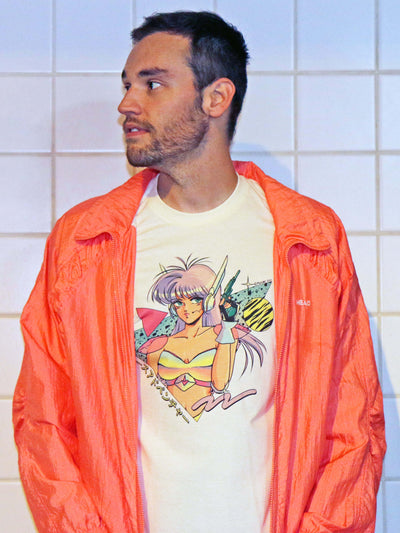 Cream graphic T-shirt with sci fi anime girl by vaporwave artist Mizucat.