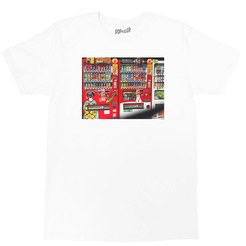 White graphic t-shirt with a Japanese vending machine photo by LA brand Popkiller.