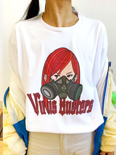 White graphic tee with a gas mask anime girl by Japanese artist Sagaken.