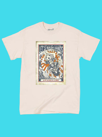 COVID safety graphic t-shirt by Japanese artist Anraku.