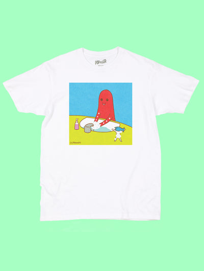 White graphic tee with kawaii octopus washing his hands by Los Angeles artist Naoshi.