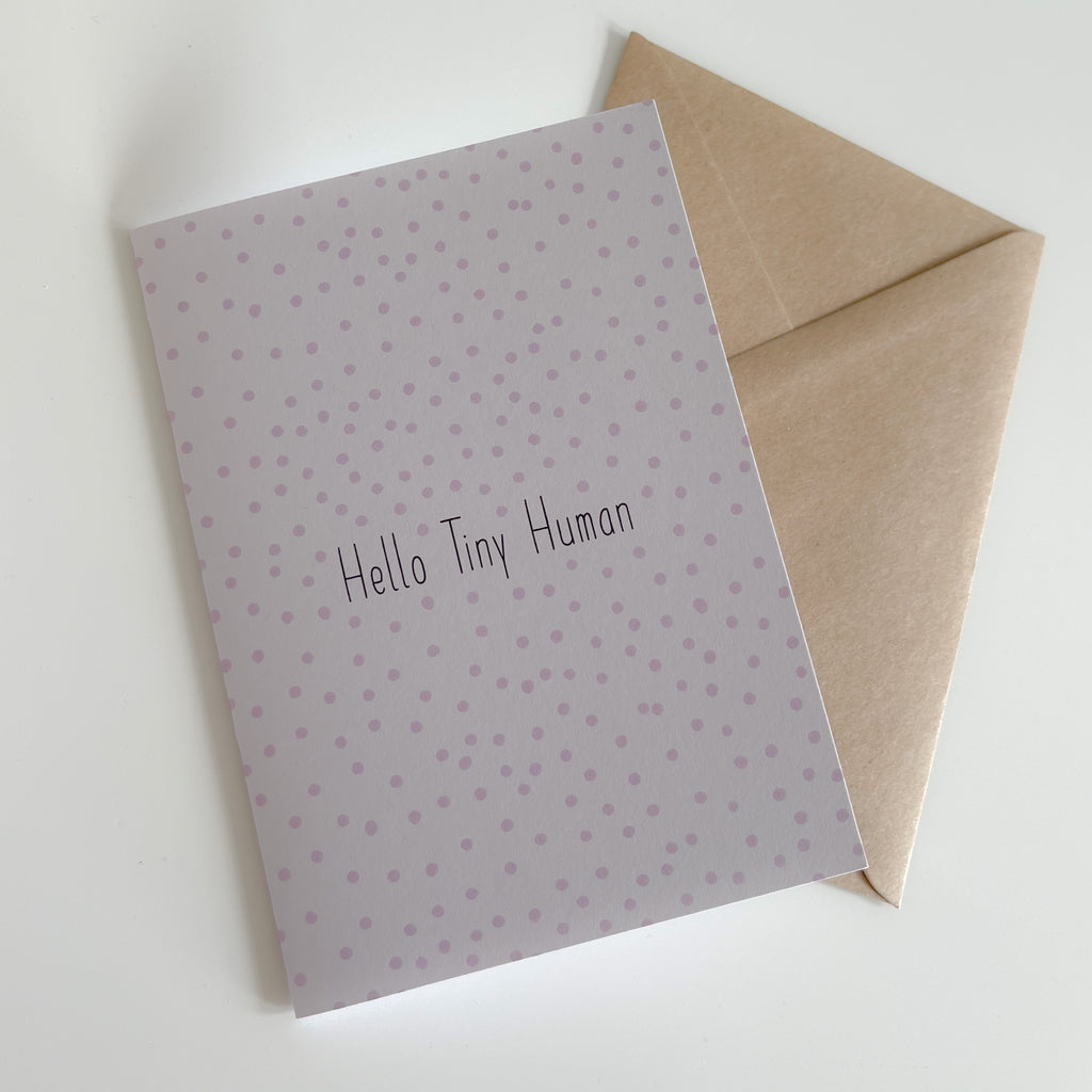 Hello Tiny Human Greeting Card (Pink)