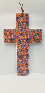Cross - Ceramic Large - Orange Paisley