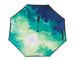 Reverse Umbrella - Green & Blue Camo