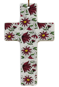 Hanging Cross Raspberry Floral Large