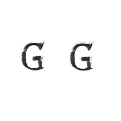 Sterling Silver Earrings - Letter G