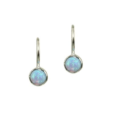 Opal Drop Earrings - Round/Blue