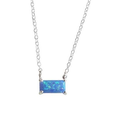 Opal Necklace - Rectangle Blue