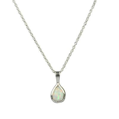 Opal Necklace - Teardrop/White