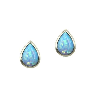 Opal Stud Earrings - Teardrop/Blue