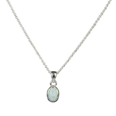 Opal Necklace - White/Oval