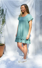 Load image into Gallery viewer, Penny - Lace Trim Drop Ruffle Linen Dress