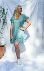 Penny - Lace Trim Drop Ruffle Linen Dress