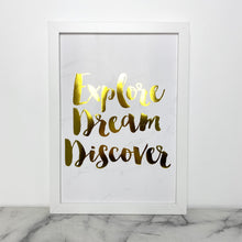 Load image into Gallery viewer, Framed Quote - Explore Dream Discover