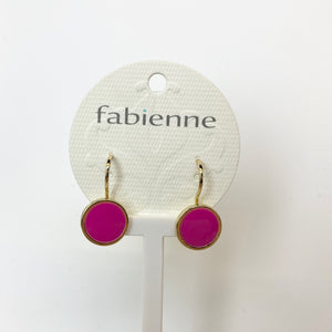 Round Drop Earrings -Hot Pink/Gold