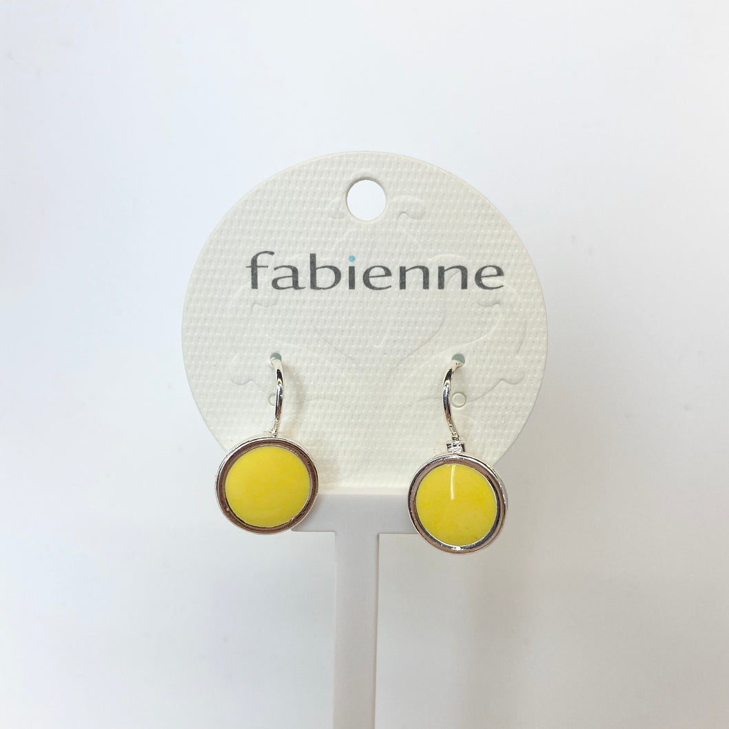 Round Drop Earrings - Yellow/Silver
