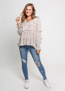 Tia - Pleated Front Long Sleeved Top