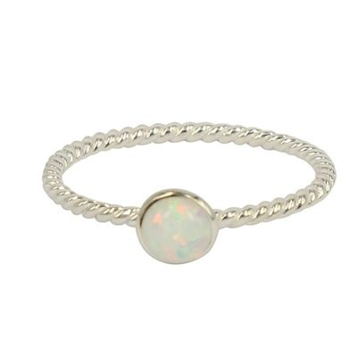Opal Twist Ring - Round/White Size 8