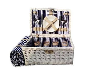 Willow Whitewash Picnic Hamper with Rug