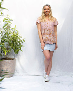 Eve - Button Front Border Boho Top