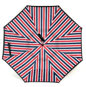 Reverse Umbrella - Red,white & Blue Stripe
