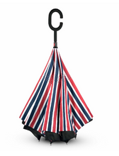 Load image into Gallery viewer, Reverse Umbrella - Red,white & Blue Stripe