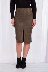 Suede Mid Length Skirt with Split