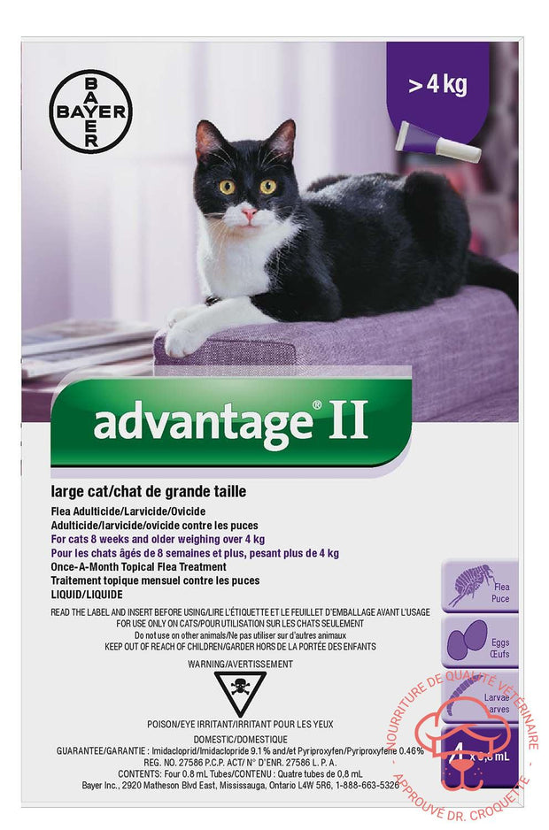 Advantage II grand Chat 18 Pour Chats +4 kg - DrCroquette