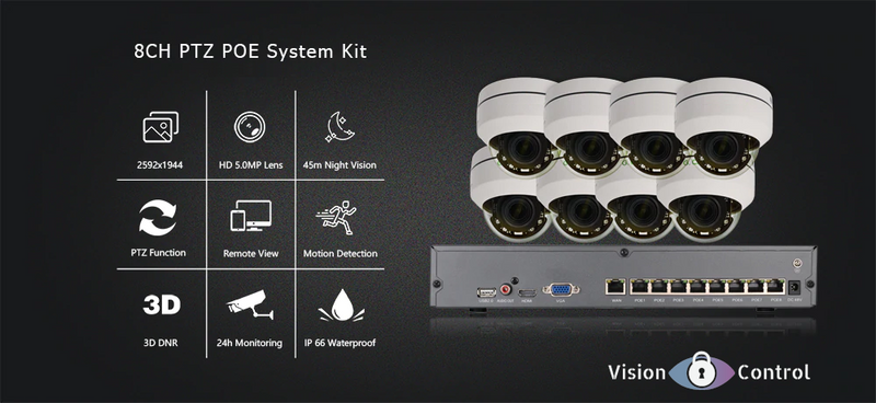 Vision Control PTZ8 Kit | 8ch | 5MP | PTZ | 16ch NVR | Waterproof | 4X Optical Zoom